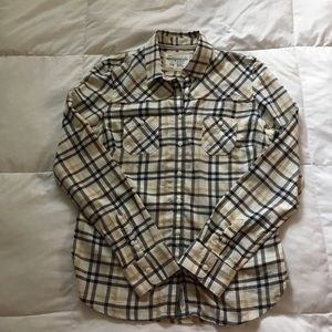 Aeropostale Button Down Flannel Yellow Brown Large